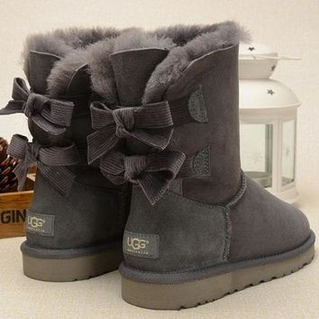UGG Fashion Women Fur Bow Wool Snow Boots In Tube Boots Shoes-3