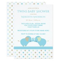 Twin Baby Boy Elephants Baby Shower Invitations