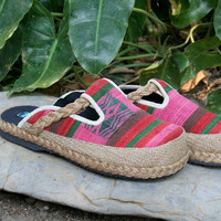 Slip On Womens Shoes in Tribal NagaTextiles,  Slides, Vegan Clogs - Sydney