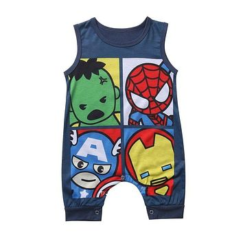 2017 Summer Cartoon Newborn Baby Boy Girl Romper Sleeveless O Neck Cotton Clothes Toddler Kids Jumpsuit Clothing 0-24M