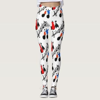 Music Notes Print Leggings Any Color