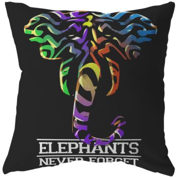 Elephants Never Forget Colorful Pillow