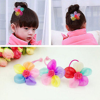 2/5/10 Pcs Elastic Hair Rope with Silk Flowers Kids Girls Hair Accessories W4