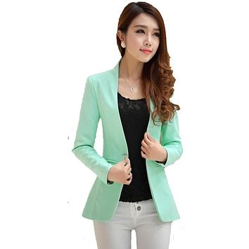 2017 summer ladies yellow blazer feminino plus formal women's white blaser rosa female blue women suit office ladies