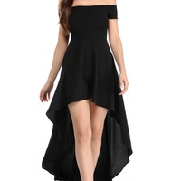 Women's Elegant Black High Low Hem Off Shoulder Party Dress