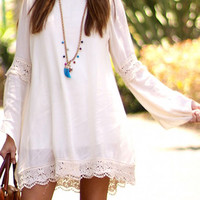 White Crochet Trim Trumpet Sleeve Loose Dress