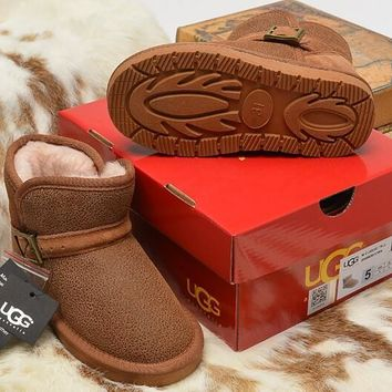 LFMON UGG 5908 Children's Shoes Kids Women Men Fashion Casual Wool Winter Snow Boots Chestnut