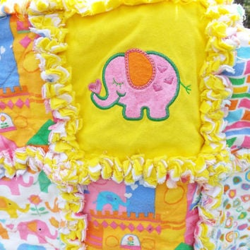 Flannel Rag Quilt, Elephants, Applique, Pink, Blue, Yellow, Baby Quilt, Crib Rag Quilt, Handmade Quilt