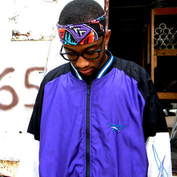 Vintage 90s REEBOK Windbreaker Jacket - 90's Black and Royal Purple Men's Track Suit Top, Mens Hip Hop Party Zip Up Bomber Jacket - XL