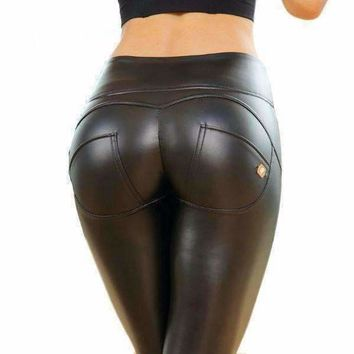 Black Sexy Faux Leather Mid Waist Women Leggings