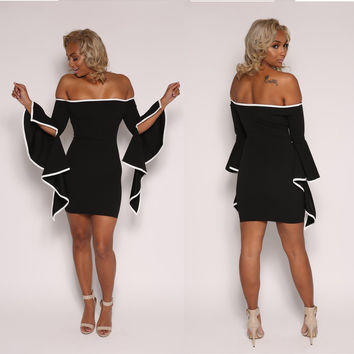 Fashion Black Sleeve Slit Off Shoulder Bodycon Dress