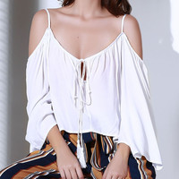 Solid Color Cold Shoulder Bell Sleeve Tie-Up Blouse