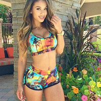 Floral Printed Shorts Sexy Women Two Piece Summer Swimsuit Bathing Suit Bandage Bikini Set _ 208
