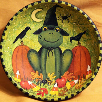 Halloween Folk Art Wood Bowl - Hand painted MADE TO ORDER - Frog Wearing Witch Hat Sits in Pumpkin Patch with Crows, Spiders, Candy Corn