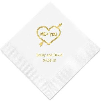 Me+You in Heart and Arrow Printed Paper Napkins (Sets of 80-100)