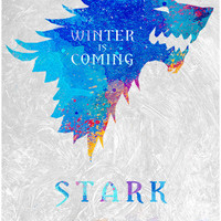 Game Of Thrones poster. Winter is coming poster. Watercolor poster. Handmade poster.