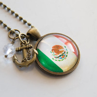Flag of Mexico Necklace - Mexican Flag Jewelry - Country Flag - Patriotic Pendant - North America Custom Jewelry Red Green Missions Spanish