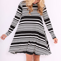 Last Second Swing Dress - Black Stripe