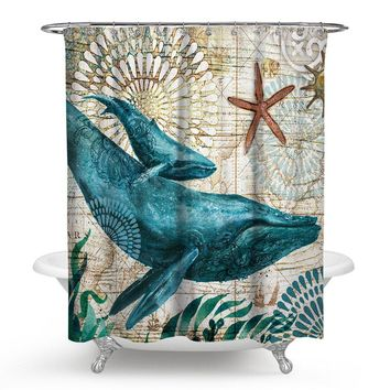 Mediterranean Sea Turtle Shower Curtain Bath Curtains Bathroom Decorative Digital Print Aquatic Creatures Thicken Anti-mildew