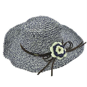 Womens Boho Navy Blue Wide Brim Floppy Hat Crochet Flower Brown Leather Trim Sun Hat UV Protection 50+