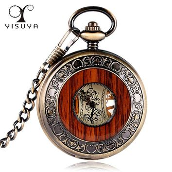 Wooden Men Pocket Watch Luxury Gift Mechanical Hand Winding Bronze Antique Style Skeleton Watch Steampunk Round Fob Watch