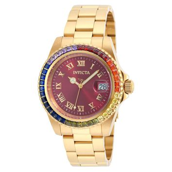 Invicta 20023 Women's Angel Crystal Accented Bezel Burgundy Dial Yellow Gold Steel Dive Watch