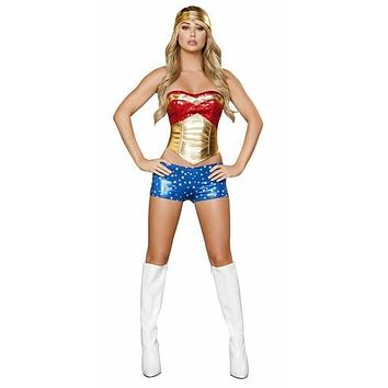 Sexy Sequined Hero Halloween Costume