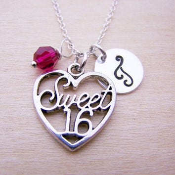 Sweet 16 Charm Necklace -  Swarovski Birthstone Initial Personalized Sterling Silver Necklace / Gift for Her - Sweet 16 Heart Charm