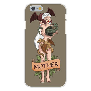 Apple iPhone 6 Custom Case White Plastic Snap On - 'Mother of Dragons' Medieval TV Show Parody