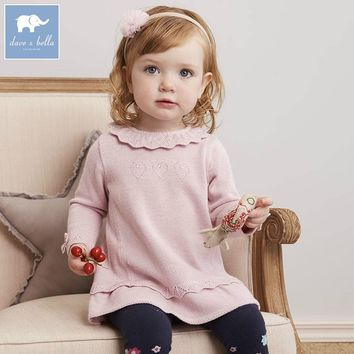 DB5627 dave bella infant baby girls princess dress kids fashion wedding birthday dress children toddle knitted sweater dress