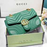 GUCCI Women Shopping Bag Leather Handbag Tote Crossbody Satchel Shoulder Bag Green