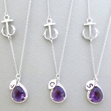 Set of 1-4, Personalized, Letter, Initial, Purple, Stone, Nautical, Sideways, Anchor, Silver, Necklace, Sets, Wedding, Reunion, Gift