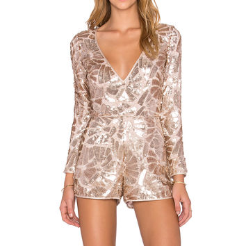 SAYLOR Jacqueline Sequin Romper in Rose Gold