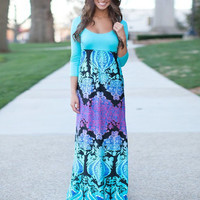 Fashion Aqua Floral Print Scoop Neck Splice Empire Maxi Dress = 4765106564