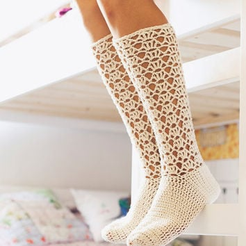 Crochet PATTERN for socks (pdf file) - Ladies Lace Socks