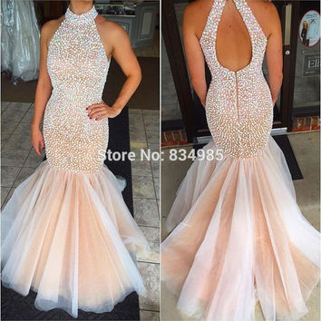 High Quality Fashion Crystals High Neck Mermaid Prom Dresses Sexy Beaded Backless Long Pageant Gowns Formal Evening Dresses