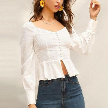 Sweetheart Peplum Puff Sleeve Top