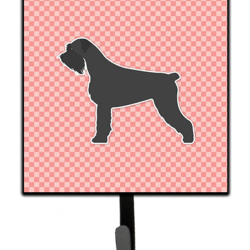 Giant Schnauzer Checkerboard Pink Leash or Key Holder BB3673SH4