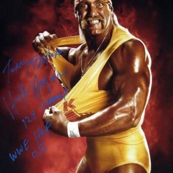 CREYON Hulk Hogan Signed Autographed 'Terry Bollea' Glossy 16x20 Photo w/ Stats (ASI COA)