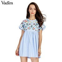 Vadim sweet lace up floral embroidery jumpsuits side zipper short sleeve pleated rompers ladies casual brand playsuits QZ3052