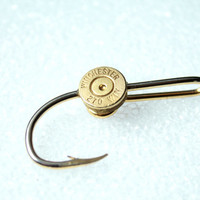 Eagle Claw Fish Hook Hat Pin With Spent Round Bullet