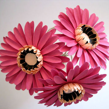Set of 3 Pink Paper Gerbera Daisies, Pink Paper Flowers, Stem Flower, Pink Daisy, Paper Wedding Decoration, Eco Wedding Flowers, Centerpiece