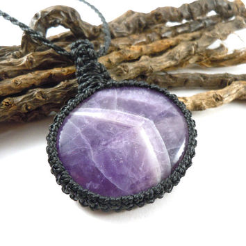 Banded Amethyst necklace, macrame jewelry, sobriety necklace, Mom gift idea, healing stone, purple gemstones, Aquarius gift, wrapmeacrystal