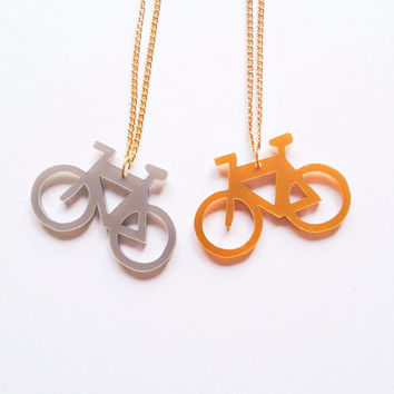 yeah yeah yeah it's bicycle time gold silver Laser cut charm gold necklace Black :) Happy Kitty cat fun jewelry xoxo