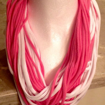 Pink and White T Shirt Infinity Circle Eternity Noodle Fashion Valentine's Day Scarf