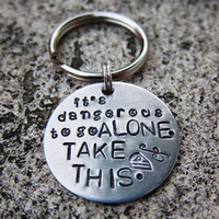 Dangerous to go alone  Handstamped by DesignByAnyOtherName on Etsy