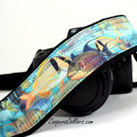 Tropical Fish Camera Strap, Blue, Aqua, Yellow, Ocean, dSLR, SLR