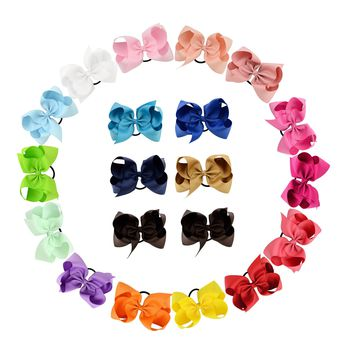 "20pcs/Lot 6"" Inch Grosgrain Elastic Hair Bow Tie Rope Ring Band Ponytail Holder Flower Headbands Accessories for Baby Toddler Girls Kids Children Women"