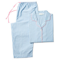 Stripe Long Sleeve Pajamas, Blue, Pajamas