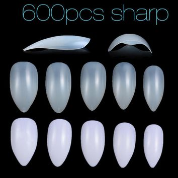 New Fake Nails 600 Japanese Style Sharp False Nail Tips 10 Size Full Cover Faux Ongles Plastic Nails Manicure Practice Tool 2017